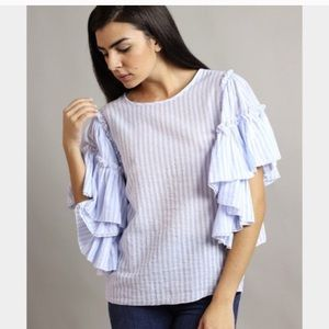 Cute Striped Shirt with Ruffle Sleeves